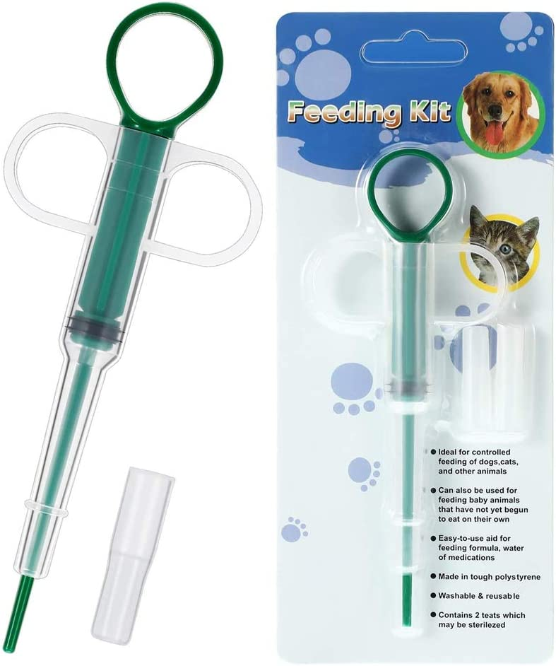 QUNQUNJIE Pet Medicine Feeding Syringe,Reusable Pet Pill Gun with 2 Soft Silicone Tips,Medical Feeding Dispenser for Birds,Dogs,Cats,Animals.