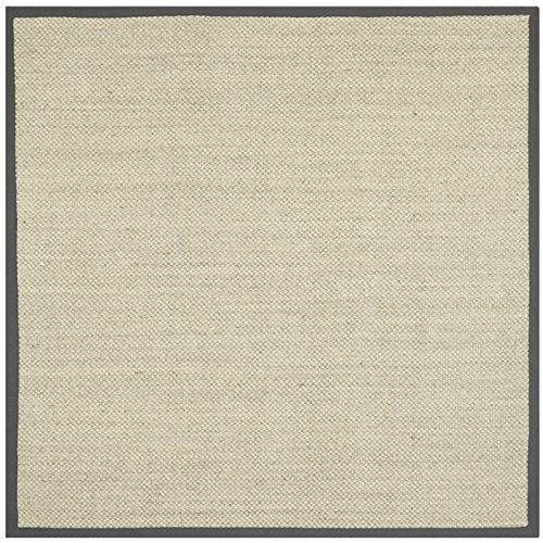 Safavieh Natural Fiber Collection NF443B Tiger Eye Marble and Grey Sisal Square Area Rug (6' Square)