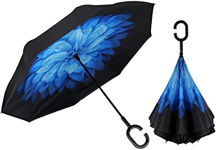 ATONO Hibiscus Flowers On Blue Striped Double Layer Inverted Reverse Folding Stick Umbrellas Windproof Anti-UV C-Shaped Handle for Car Rain Outdoor