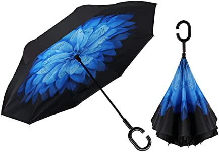 Double Layer Inverted Inverted Umbrella Is Light And Sturdy Colors Rainbow Pattern Multicolored Butterflies Morpho Reverse Umbrella And Windproof Umb