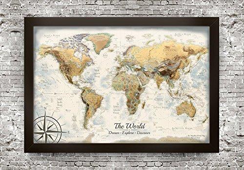 Push Pin World Map - The Magellan World Map - Large Framed Map - Magellan Design