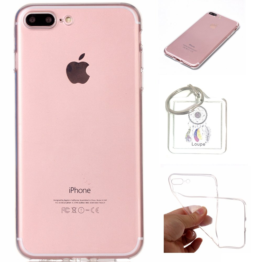 Lohpe iPhone 8Plus/7 Plus 5.5 inch Case Soft Flex Transparent Silicone TPU Case Cover for Apple iPhone 8Plus/7 Plus 5.5 inch Case Cover - Crystal Clear + Key chain(Q)