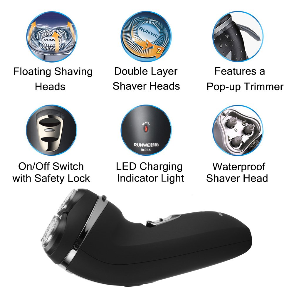 RUNWE Electric Shaver for Men Premium Cordless Razor with Pop up Trimmer Wet and Dry Use