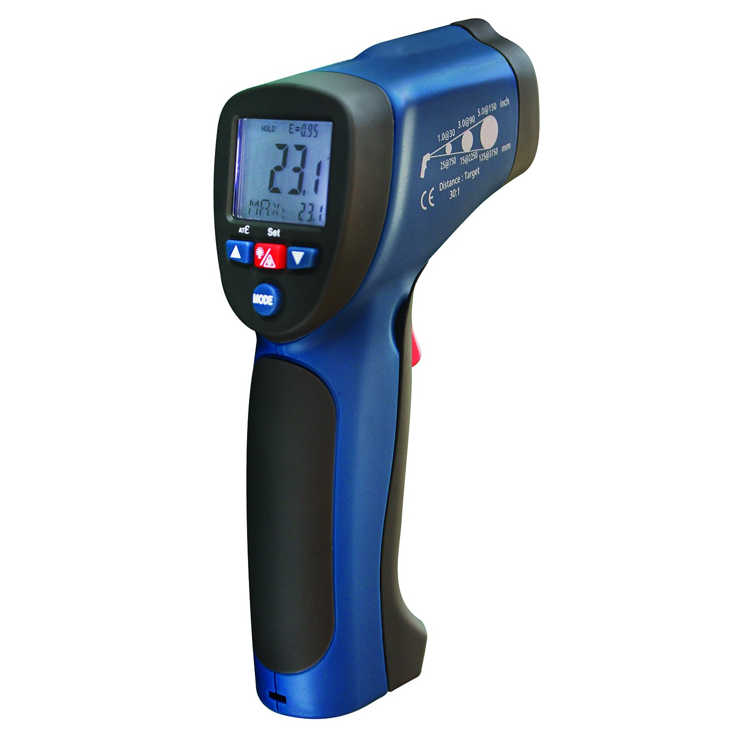 REED Instruments R2005 Infrared Thermometer, 30:1, 1922°F (1050°C), Integrated Type K Thermocouple