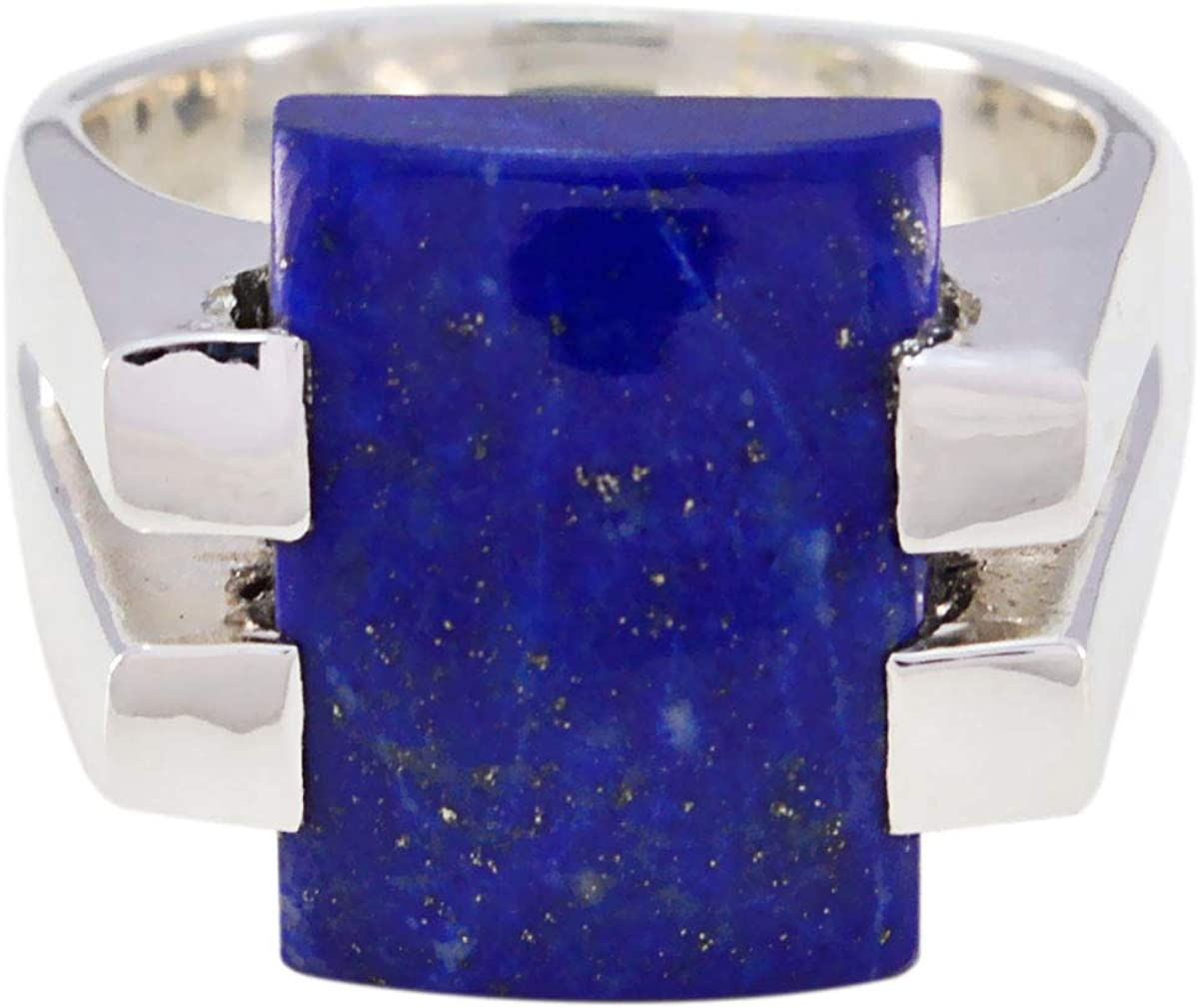 joyas plata bonita piedra preciosa forma octágono una piedra cabujón anillo de lapislázuli - anillo de lapislázuli azul de plata esterlina - libra de nacimiento de octubre