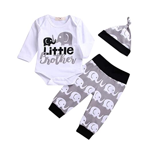 f067a208eb Newborn Baby Boy Little Brother Outfit Elephants Onesie Romper Bodysuit+  Legging Pant Hat Summer Clothes Set