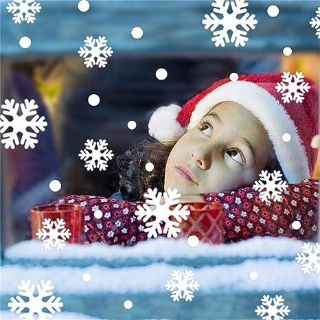 iStary Navidad Pegatinas Ventana De Exhibición De Copo De Nieve Sala De Estar Vinilo Adhesivos De