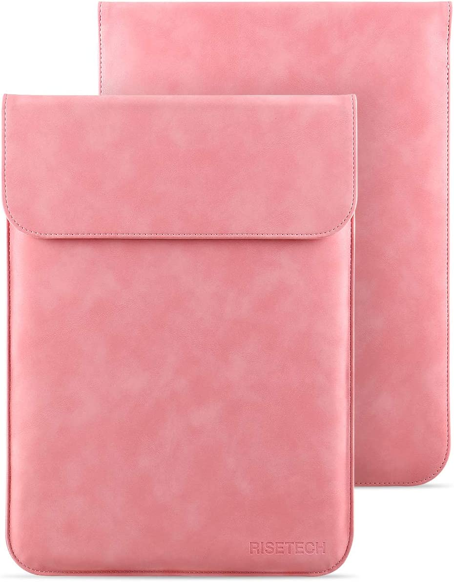 13-13.3 Inch Laptop Sleeve Case, RISETECH Waterproof PU Leather Cover Bag for 2020 MacBook Pro MacBook Air, Surface Laptop, 2019 New Dell XPS, Matebook X Pro, HP, ASUS, Lenovo Ultra Slim Notebook-Pink