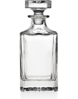 godinger silver art clarion square nonleaded crystal whiskey decanter with glass stopper - Whisky Decanter