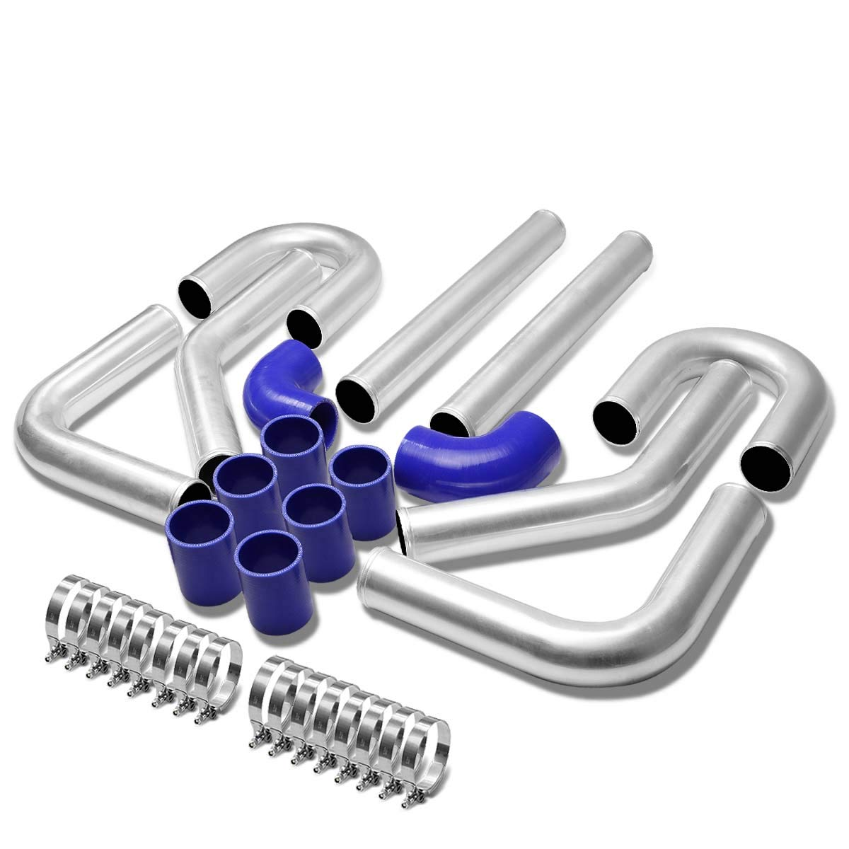 Universal 3 8pcs Black Front Mount Turbo Intercooler Piping+Silicone Hose+Clamps Kit