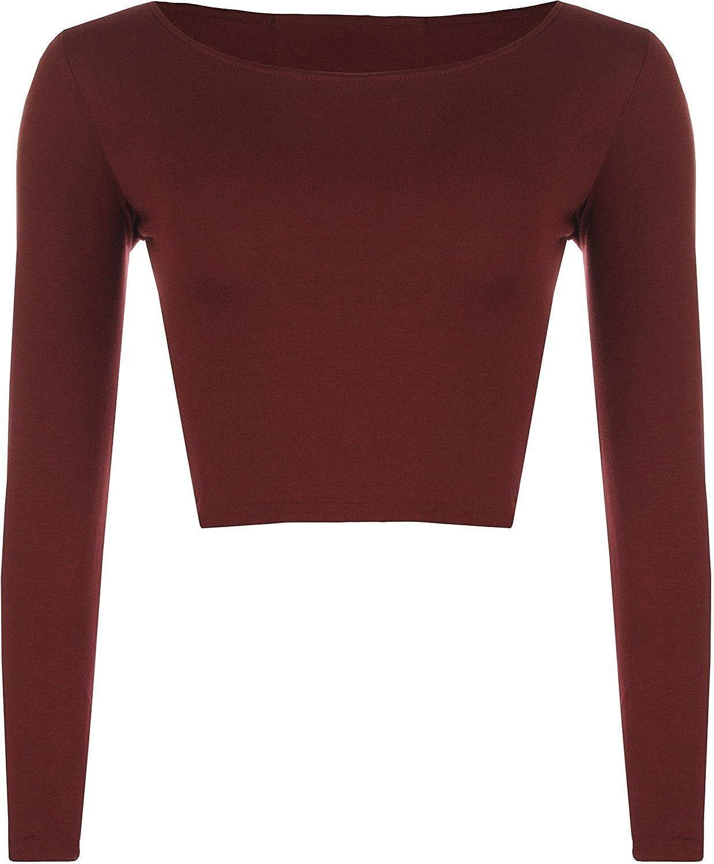 Womens Crop Long Sleeve T Shirt Ladies Short Plain Round Neck Top 8 - 14 MMT