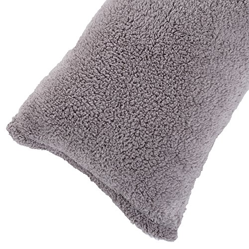 """Body Pillow Cover. Sherpa with side zipper by Lavish Home – 18 """"x52″ (Grey)"""