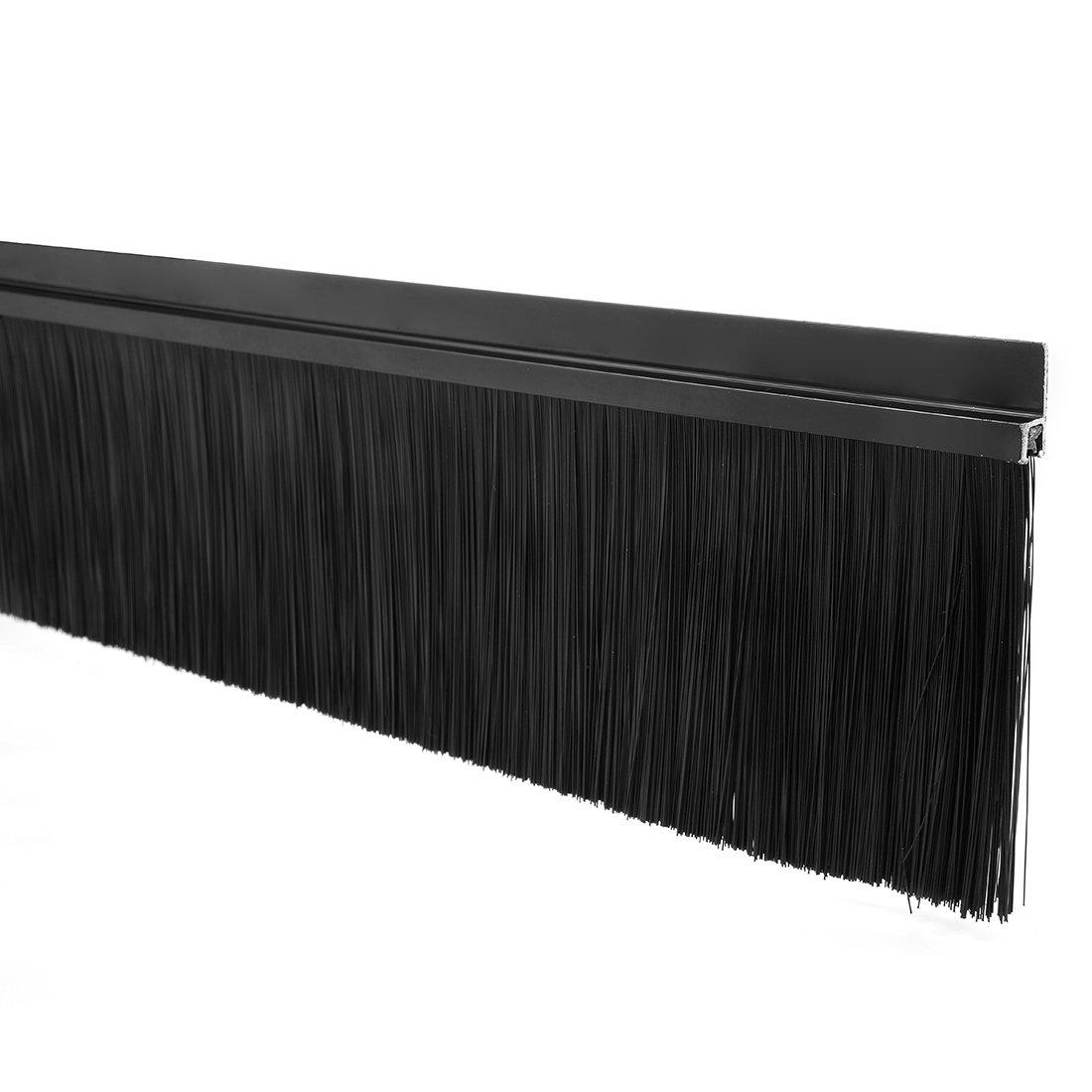 Uxcell a17060200ux0401 Door Bottom Sweep H-Shape Aluminum Alloy Base Nylon Brush