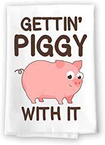 Honey Dew Gifts Funny Kitchen Towels, Gettin' Piggy with It Flour Sack Towel, 27 inch by 27 inch, 100% Cotton, Multi-Purpose Towel