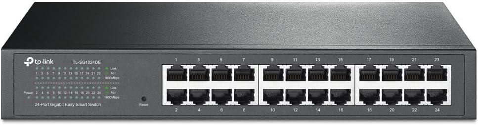 TP-Link 24 Port Gigabit Switch | Easy Smart Managed | Plug & Play | Lifetime Protection | Desktop/Rackmount | Sturdy Metal w/ Shielded Ports | Support QoS, Vlan, IGMP & Link Aggregation (TL-SG1024DE)