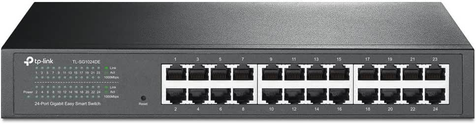 TP-Link 24-Port Gigabit Ethernet Easy Smart Managed Switch, Plug and Play, Desktop/Rackmount, Metal, Fanless (TL-SG1024DE)