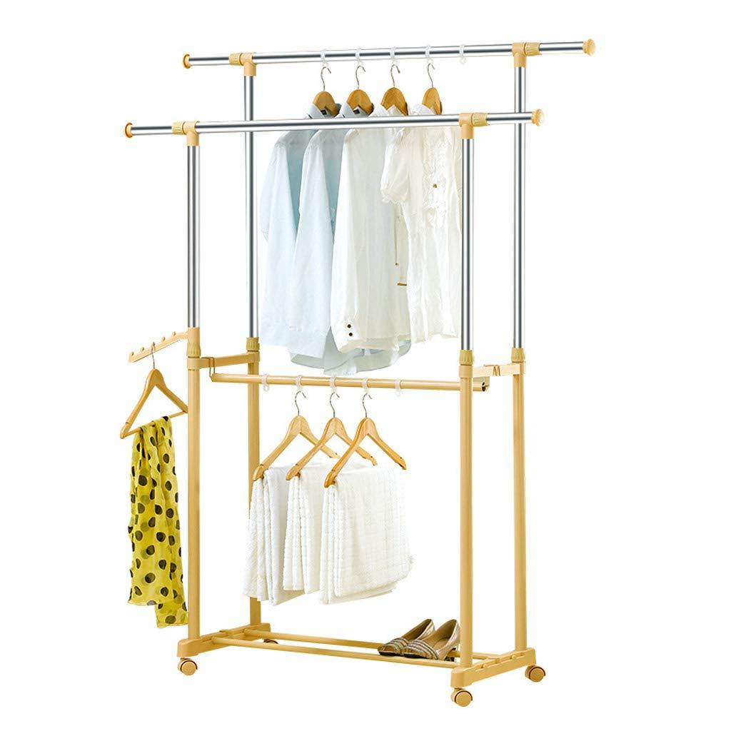 乾燥棚、引き込み式の移動式ステンレス鋼の床の衣服のキルトの床の立場、バルコニーの屋外の庭の屋内乾燥の棚のために適した、黄色の単一のポーランド人/ 3本の棒 (色 : B) B07MPSVNGJ B