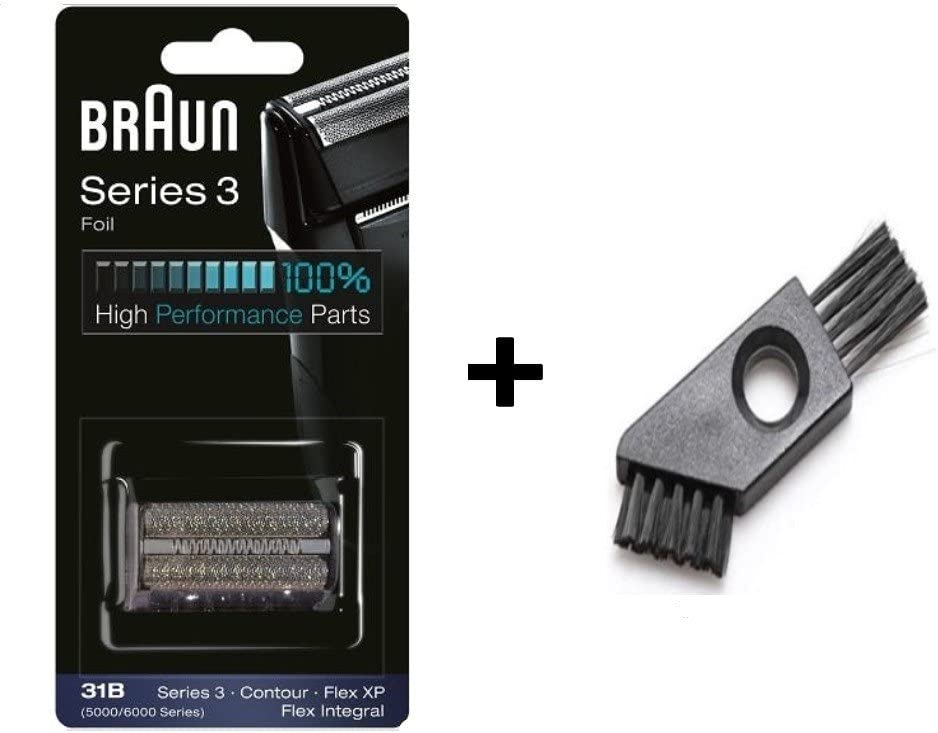 31B Shaving Heads Series 3 5000/5000 Series Contour Shaver Replacement Foil and Cutter Cassette Cartridge 5414 5610 5612 5877 5775 5770 with Cleaning Brush (31B)