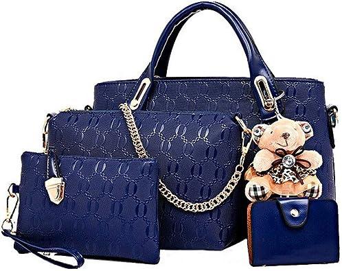 Women Set 4Pcs Handbags Messenger Shoulder  Faux Leather Bags Tote Satchel Purse