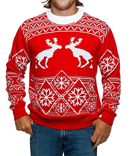 FunQi Gifts Men's Pooping Moose Ugly Christmas Sweater Large - Sweater Moose Christmas