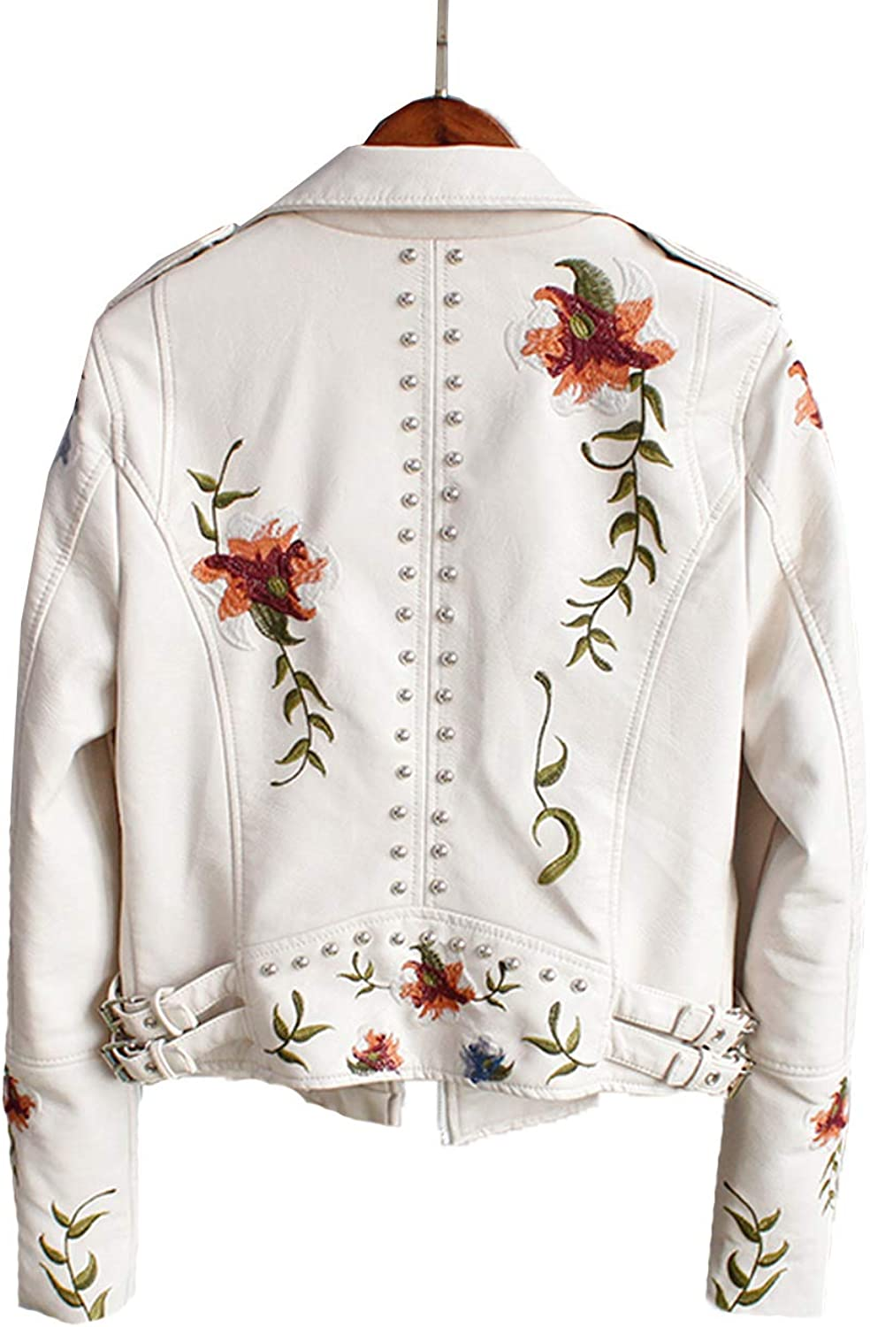 LY VAREY LIN Womens Floral Embroidered Faux Leather Moto PU Jacket Coat