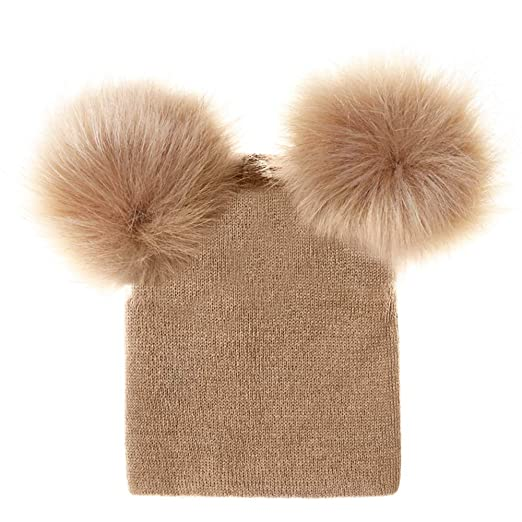 cc8f6ad5a Amazon.com: Merssavo Newborn Kids Baby Boy Girl Double Fur Pom Hat ...