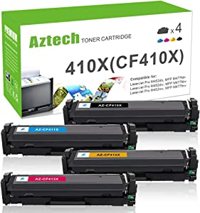 Aztech Compatible Toner Cartridge Replacement for HP 410A CF410A 410X CF410X Color Laserjet Pro M477fdw M477fnw M477fdn M452dn M452dw M452nw CF411X CF412X CF413X (Black, Cyan, Yellow, Magenta, 4-Pack)