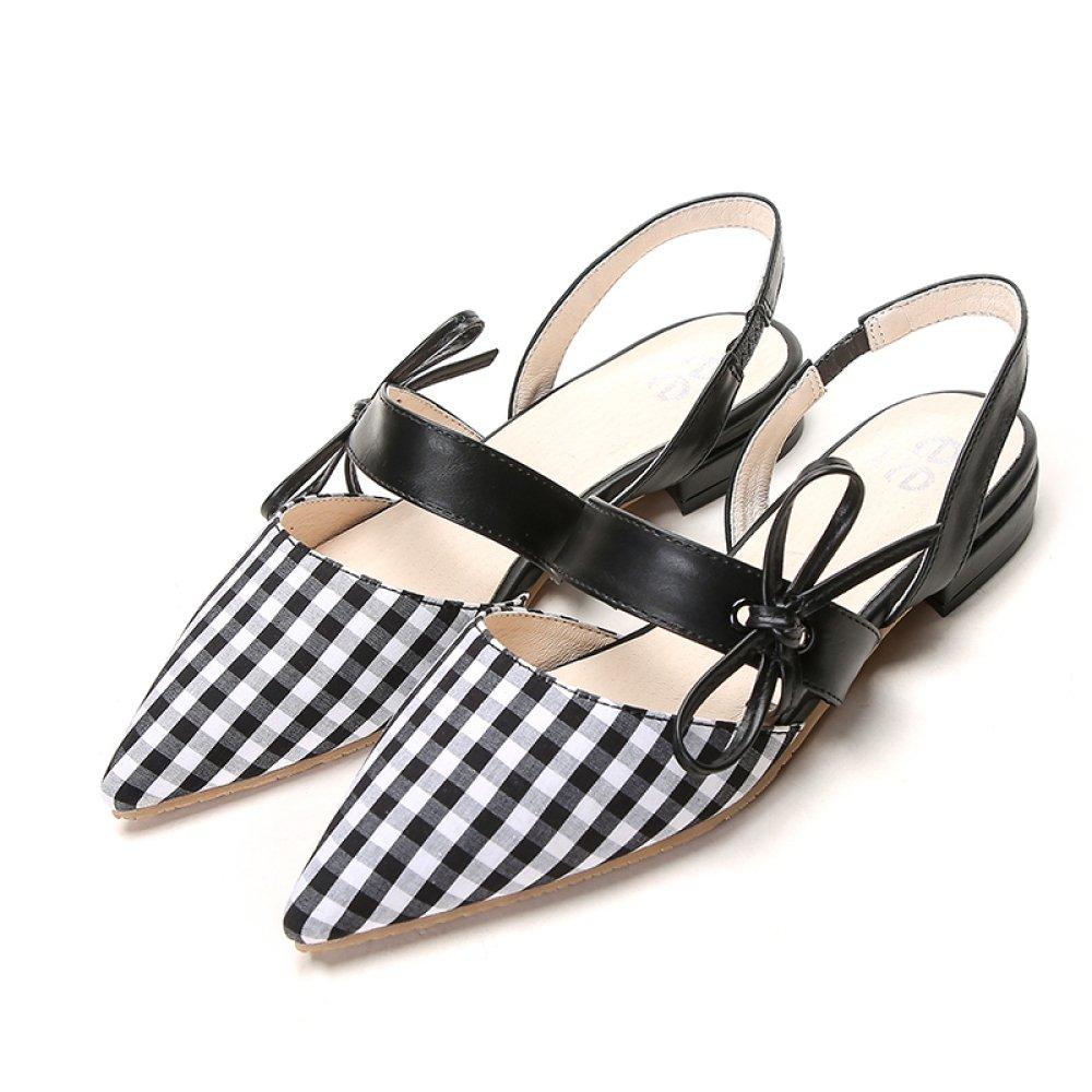 GTYW Zapatos De Mujer De Verano Zapatos Planos Sandalias Arcos De Cuadros Zapatos De Mujer Zapatos De Tacón Bajo Zapatos De Tacón Alto 39 EU|Blackandwhite