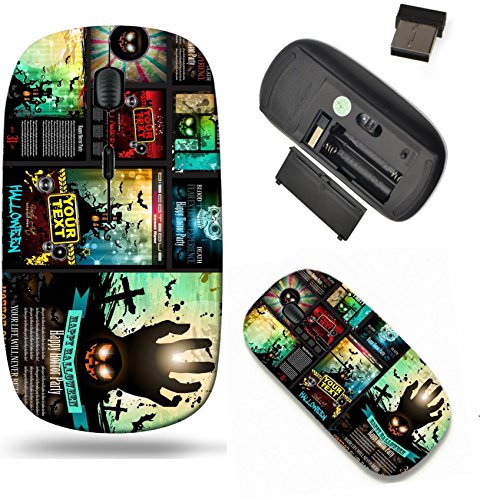 Liili Wireless Mouse Travel 2.4G Wireless Mice with USB Receiver, Click with 1000 DPI for notebook, pc, laptop, computer, mac book IMAGE ID 32322977 Halloween Party Flyer with creepy colorful elements]()