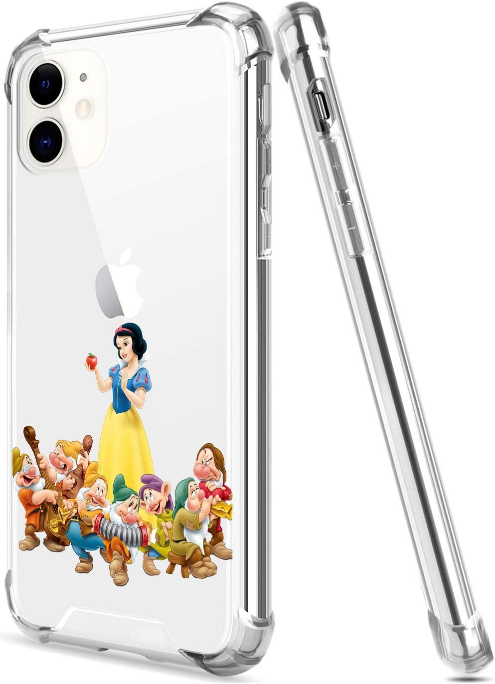 Crystal Clear iPhone 11 Case with 4 Corners Shockproof Protection,Cute Cartoon Design Soft TPU Bumper and Anti-Scratch PC Back Protective Cover Cases for Men and Women (Snow-White-7Dwarfs)