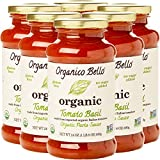 Organico Bello Gourmet Organic Pasta Sauce, Tomato Basil, 6 Count