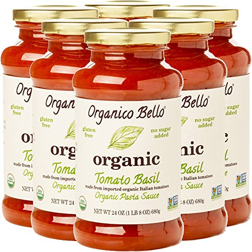 Organico Bello - Organic Gourmet Pasta Sauce - Tomato Basil - 24oz (Pack of 6) - Non GMO, Whole 30 Approved, Gluten Free