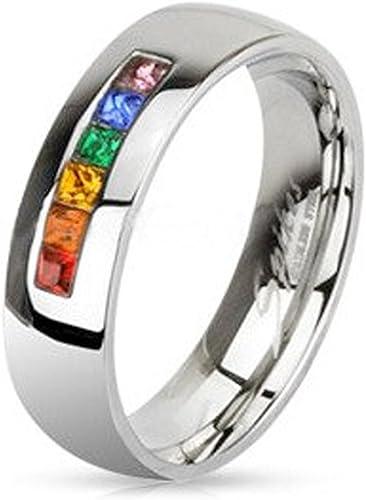 Mujeres Hombres Rainbow Compromiso de la boda De acero de titanio Banda anillos