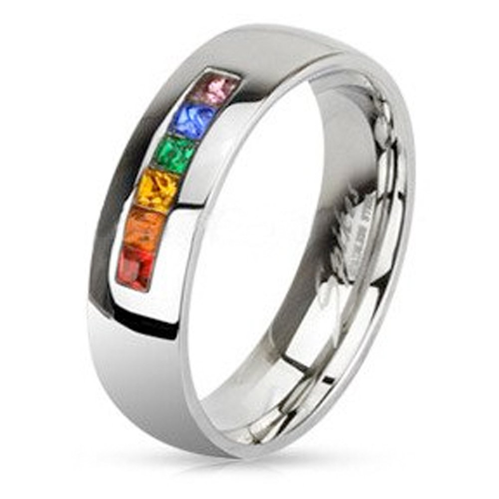 Rainbow String Smooth Round Top Ring - Gay & Lesbian Pride Stainless Steel (Wedding Marriage or Engagement band w/ CZ Stones). LGBT Pride (9)