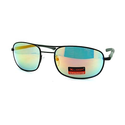 69c76ed49710 Oval Rectangular Mens X-loop Sunglasses Metal Spring Hinge Black Orange Revo