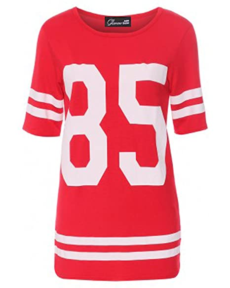 Crazy Girls Womens 85 Printed American Football Varsity Oversized Plus Size  Top at Amazon Women s Clothing store  Fashion T Shirts d1bd9f3b4