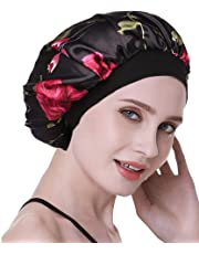 SEALEN Soft Satin Sleeping Cap Salon Bonnet Wide Band Night Sleep Hat for Women Hair Protection