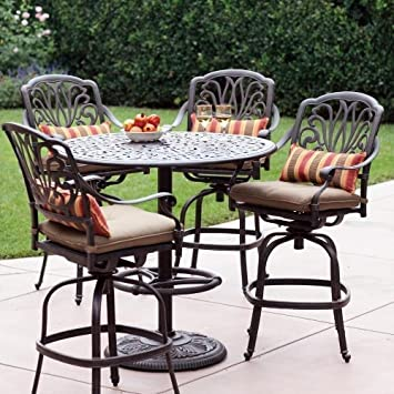 Amazoncom Elisabeth 4person Cast Aluminum Patio Bar Set