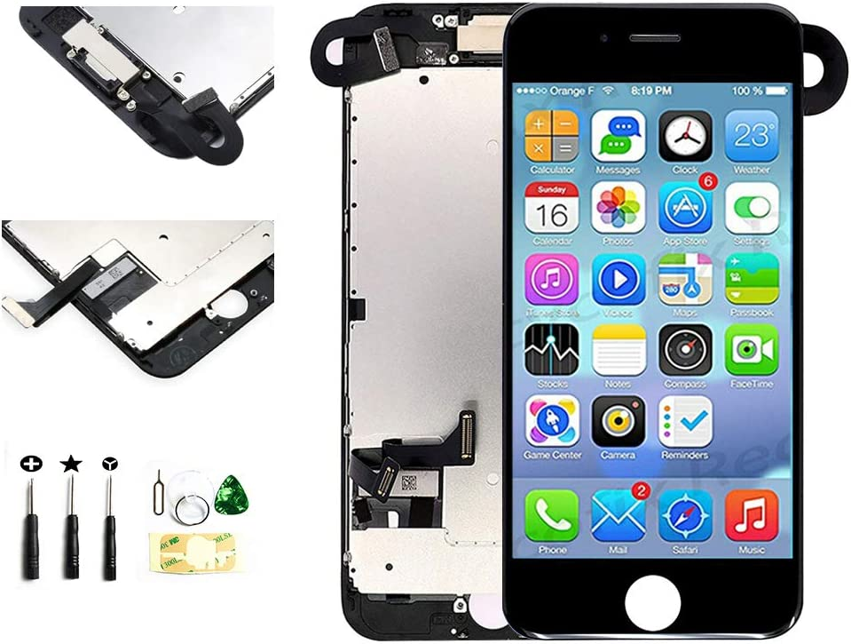 with Front Camera Facing Proximity Sensor Earpiece Speaker Full Assembly Digitizer Display LCD Screen Replacement for iPhone 7 Plus 5.5 Inch Black