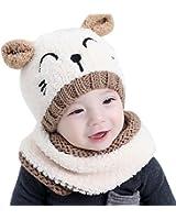 37c2a67a91d Internet garçons filles bébé Cagoule en laine chaude écharpe Casquettes  Chapeaux Automne-hiver