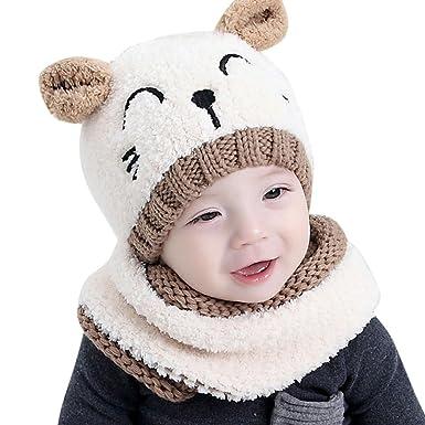 dd4dba937d9 Internet garçons filles bébé Cagoule en laine chaude écharpe Casquettes  Chapeaux Automne-hiver (Beige