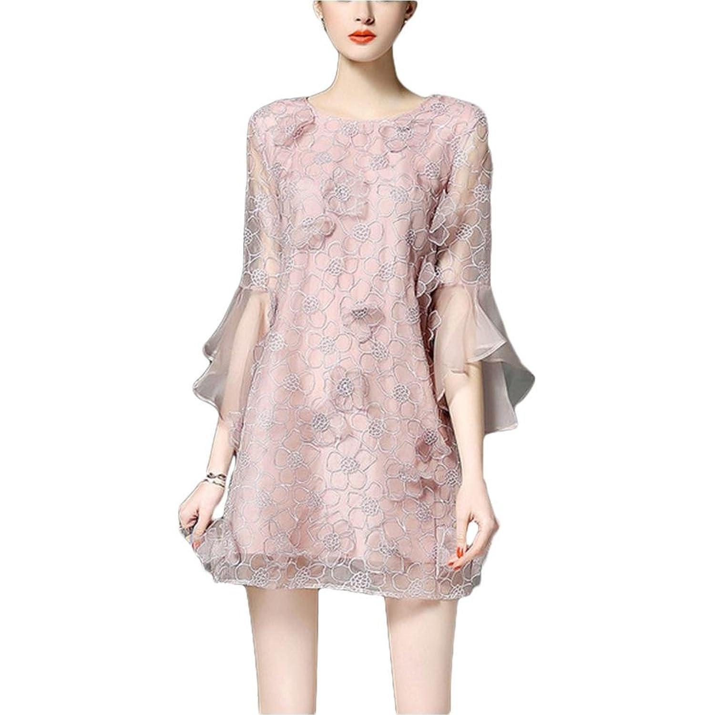 Mode einfaches Kleid Rundhals Kleid - rosa 2xl pink