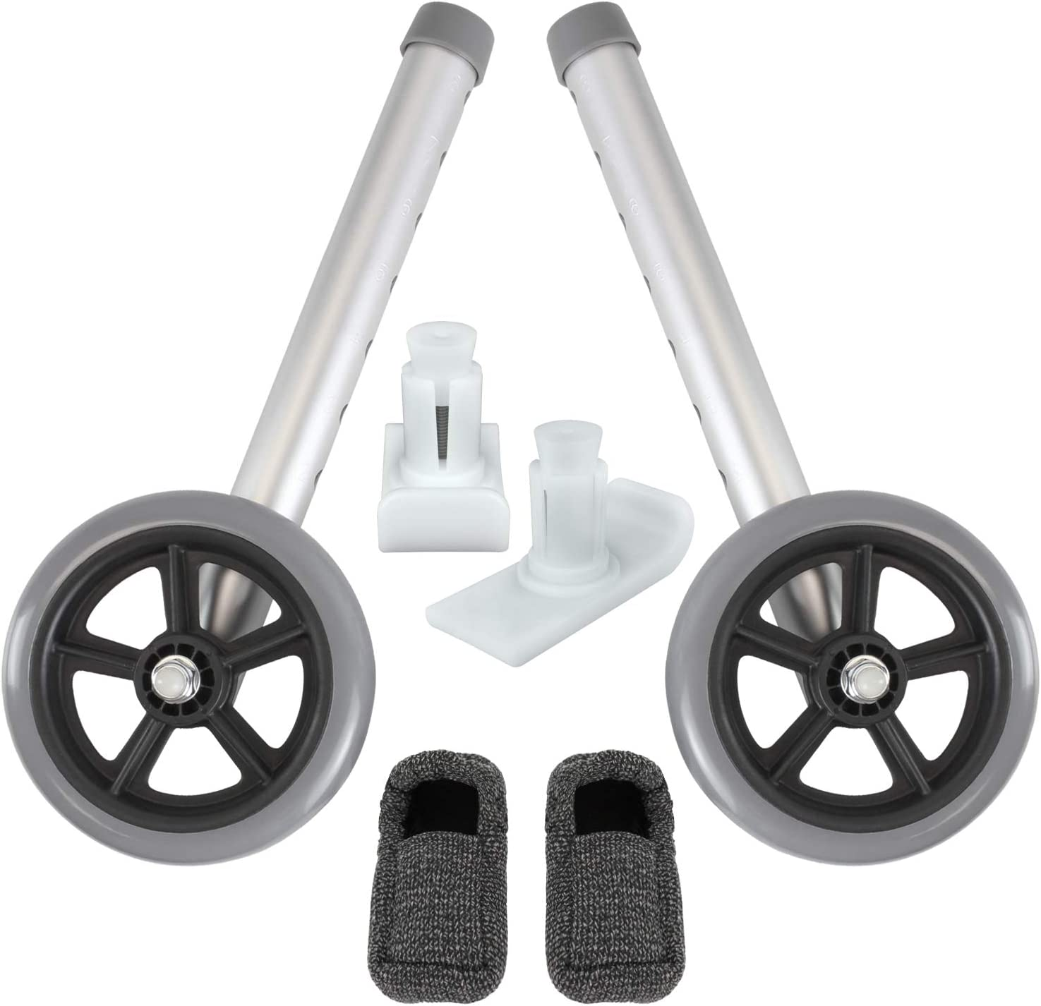Vive Walker Wheels and Ski Glides - Replacement Feet - Accessories Parts Set for Folding Medical Walkers - Universal Front, Back Stability Safety Wheel - Includes 2 Glide Tips, Two 5 Inch Rubber Wheel: Health & Personal Care