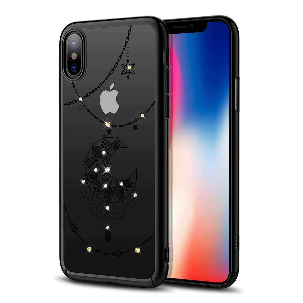 check out a2a89 56ffa iPhone X Case Clear Case with Swarovski Crystals by ICONFLANG, Slim Case  Shockproof Anti-Scratch Finish, Cover for iPhone X 5.8