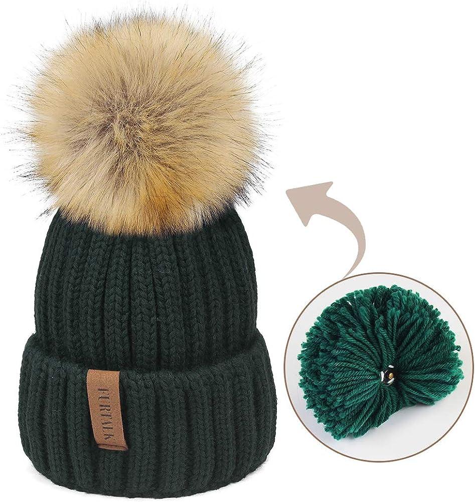 FURTALK Kids Winter Knitted Pom Beanie Bobble Hat Faux Fur Ball Pom Pom Cap Unisex Kids Beanie Hat,Green,One Size