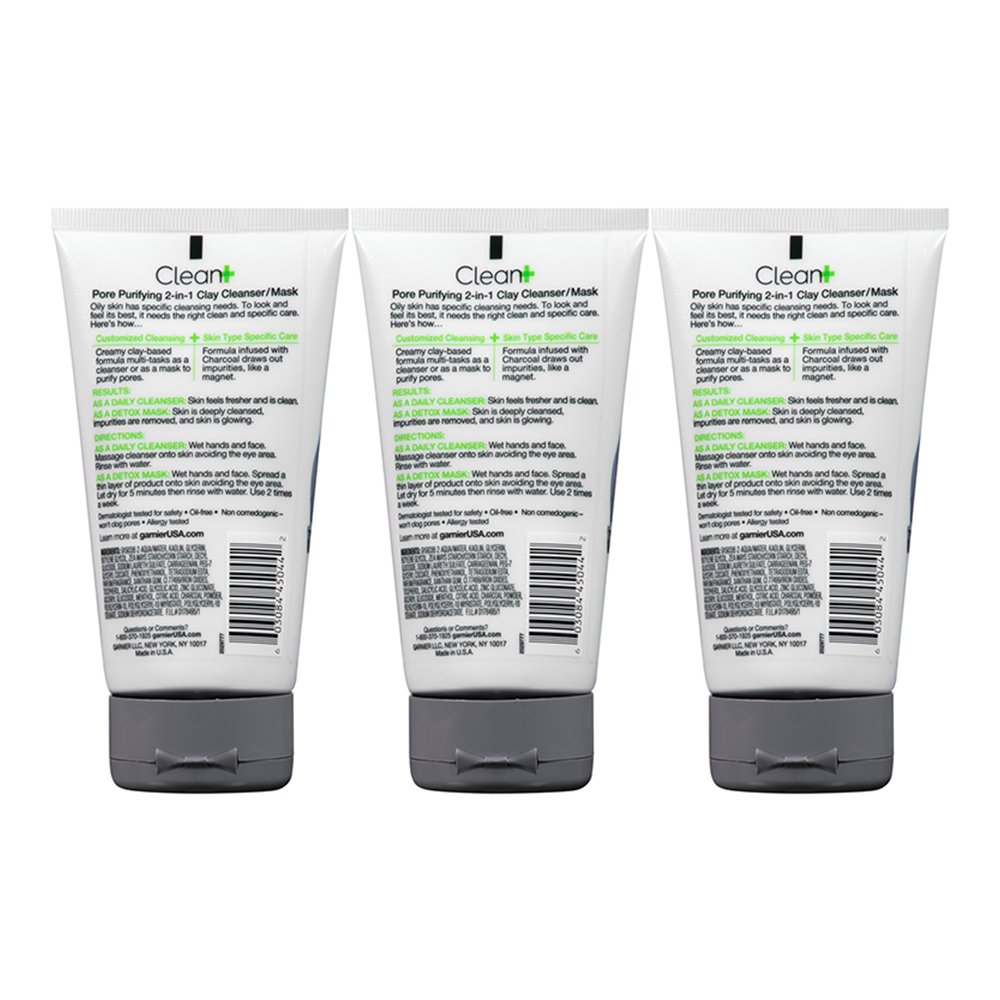 Garnier SkinActive Men s Pore Purifying Charcoal Face Wash Mask, 3 Count