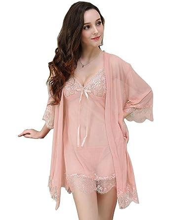 ee53cfb02e4 etuoji Women s Lace Kimono Robe Babydoll Lingerie Mesh Nightgown 3 Piece