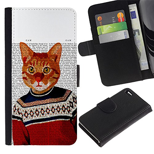 OMEGA Case / Apple Iphone 4 / 4S / cat art orange ginger garfield yellow / Cuir PU Portefeuille Coverture Shell Armure Coque Coq Cas Etui Housse Case Cover Wallet Credit Card