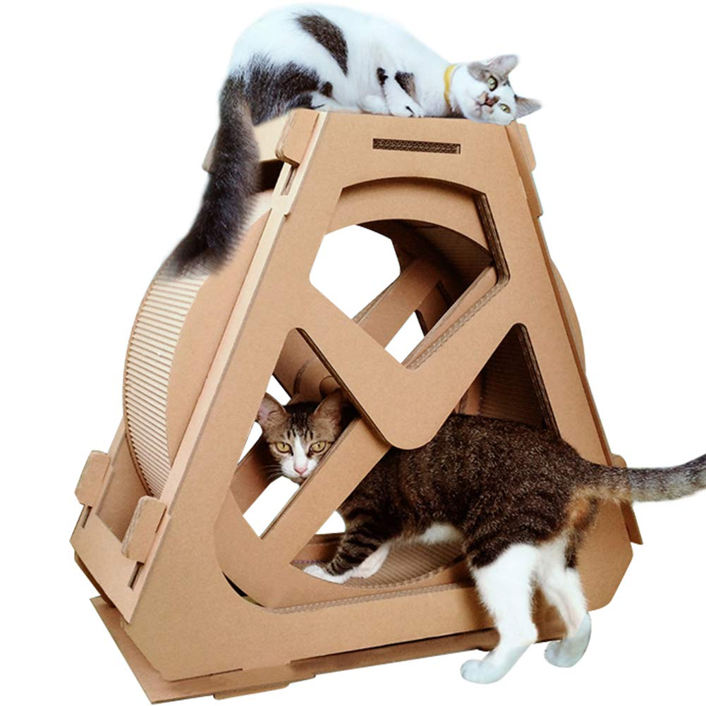 Creation Core Multi-Level Cat Scratcher Board Ferris Wheel Shaped Toy Bed Scratching Posts Cave Activity Centre Cat Waterwheel Furniture for Kittens Cats and Pets by Creation Core