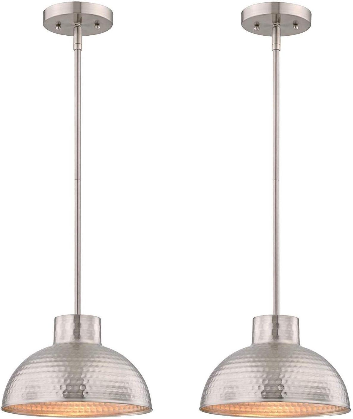 Westinghouse 6345500 One-Light Mini Pendant Industrial Hammered Brushed Nickel Finish